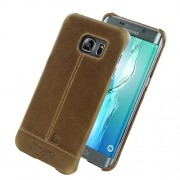Leather back cover case, Pierre Cardin, brown (Galaxy S6 Edge Plus)
